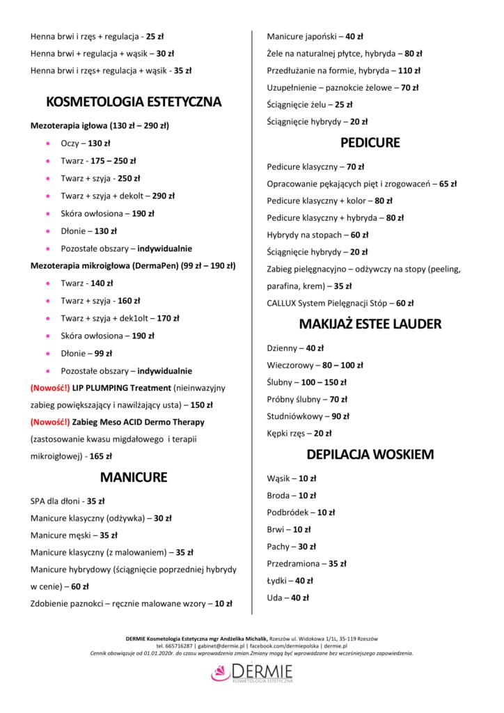 cennik-2020-dermie-kosmetologia-estetyczna