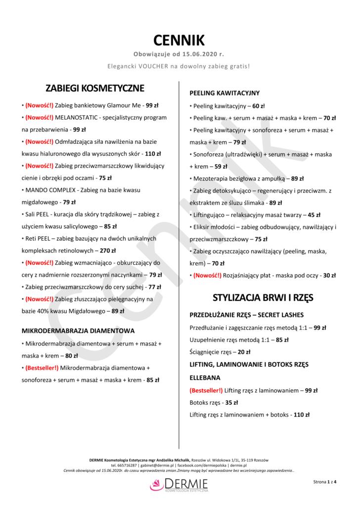 Cennik - Dermie Kosmetologia Estetyczna - strona 1