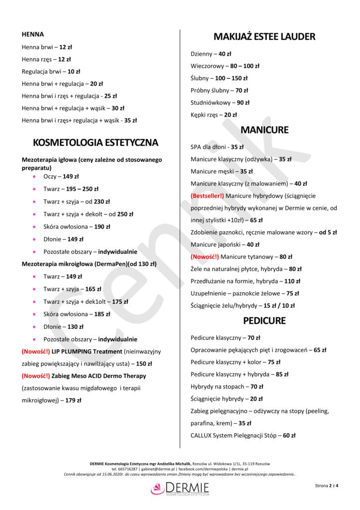 Cennik - Dermie Kosmetologia Estetyczna - strona 2