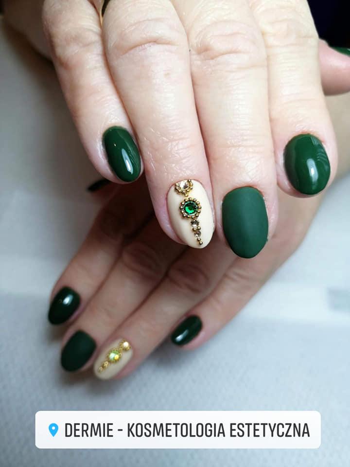 Manicure hybrydowy - zielono - biały Dermie Rzeszów